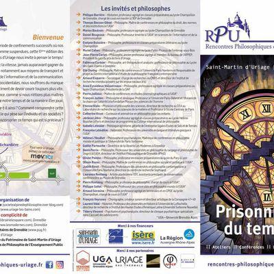"""Programme Rencontres Philosophiques d'Uriage """"Prisonniers du temps ?"""""""