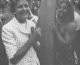 Having grown up in southern California, Pat Nixon knew the beaches well and liked to point out the best places to catch a high-wave to surfers - Pat Nixon takes a yoga class during a women's health conference meeting.