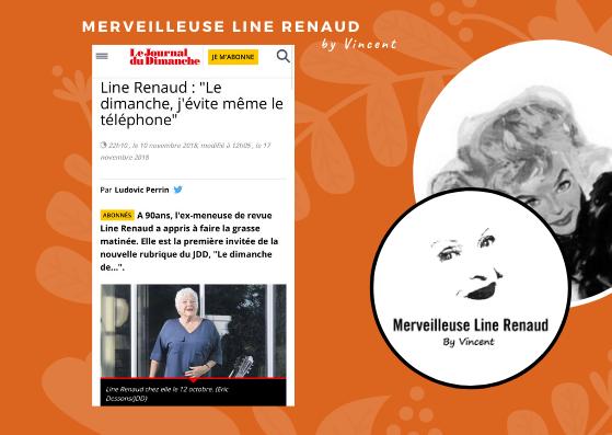 """PRESSE WEB: Line Renaud : """"Le dimanche, j'évite même le téléphone"""""""