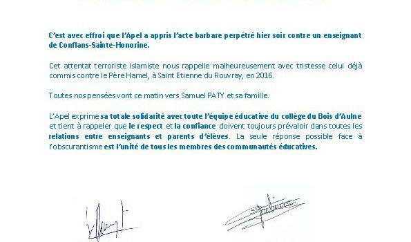 COMMUNIQUE DE L'APEL – ATTENTAT DE CONFLANS-SAINTE-HONORINE