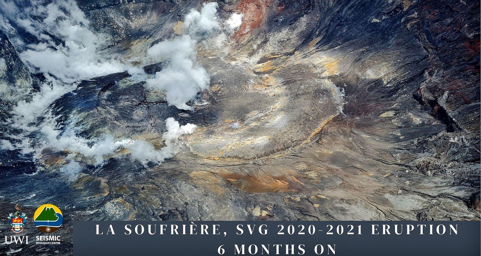 Soufrière de St. Vincent - le cratère au 29.06.2021 et au 29.03.2021 -  photos UWI-SRC - un clic pour agrandir