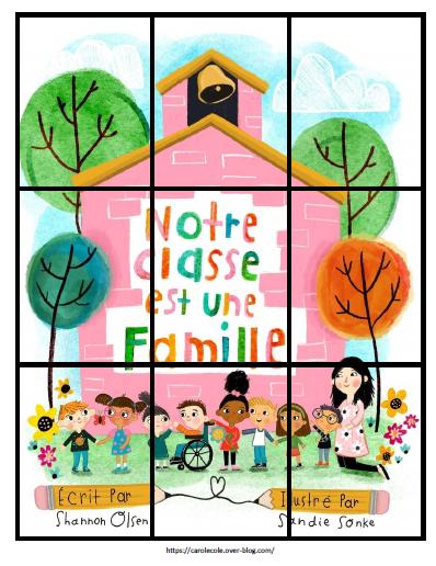"""Puzzles couverture album """"Notre classe est une famille"""""""