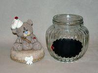 Pot gourmand avec p'tit ourson cuistot en porcelaine froide