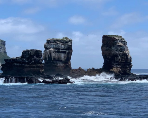 Galapagos Archipelago - Darwin's Arch on 05.17.2021 after its summit collapsed - photo Aggressor Adventures Facebook page