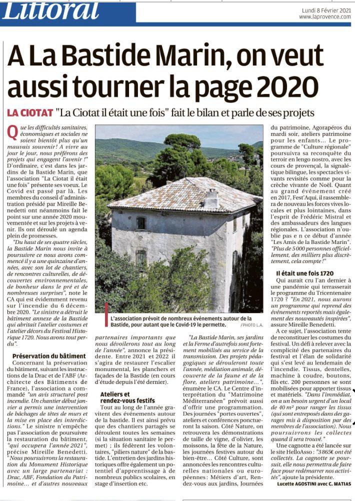 Bilan post incendie de l'atelier costume et projets 2021 - Bastide MARIN