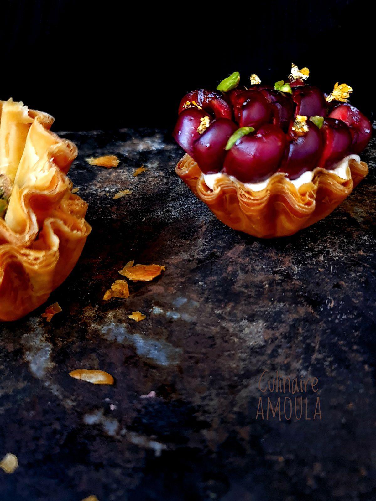 Tarte baklava cheesecake à la cerise et à la fève tonka