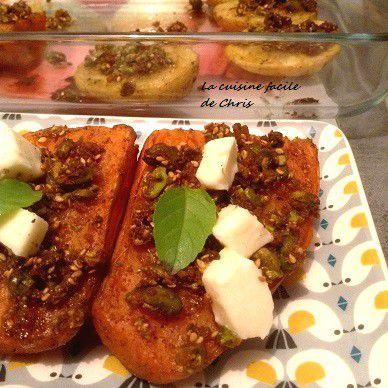Patates douces rôties et crumble de pistaches