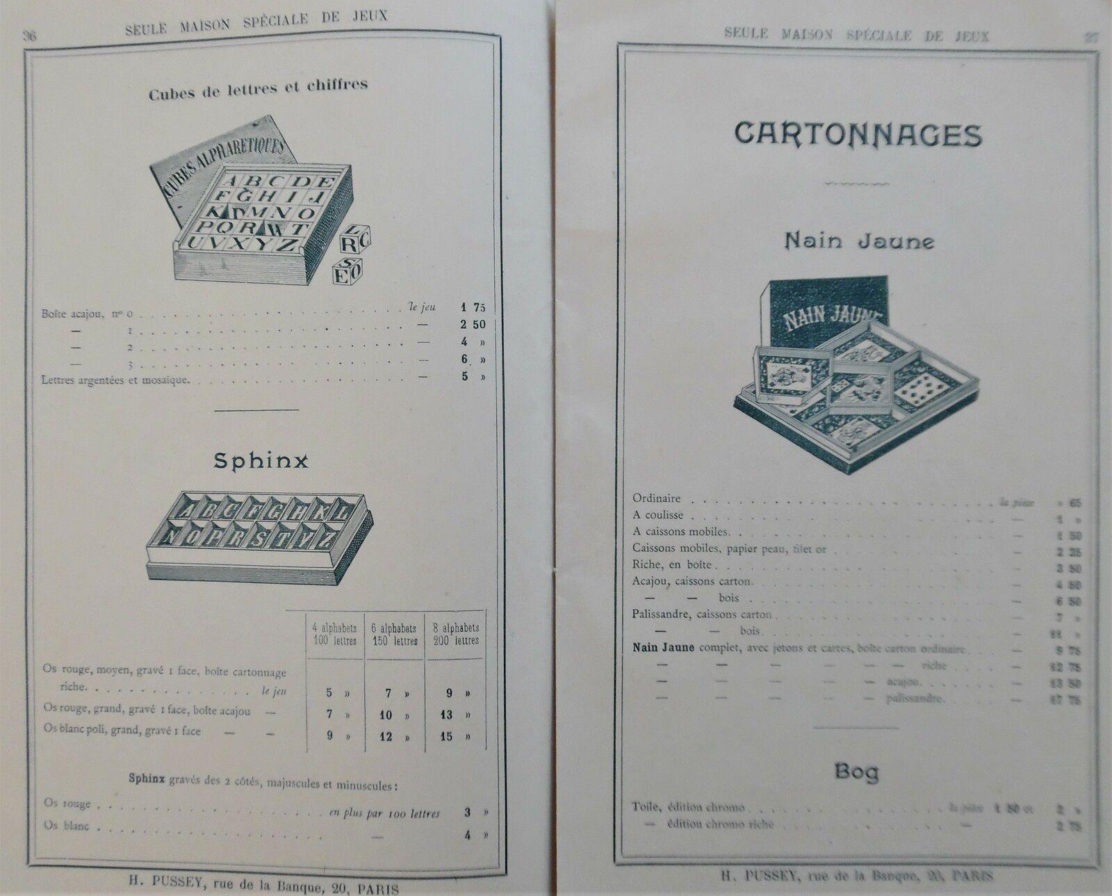 jeux PUSSEY ( catalogue de la maison de)