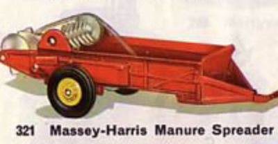 DINKY TOYS GB #27C/321 MASSEY HARRIS MANURE SPREADER and its JOAL SUCCESSOR