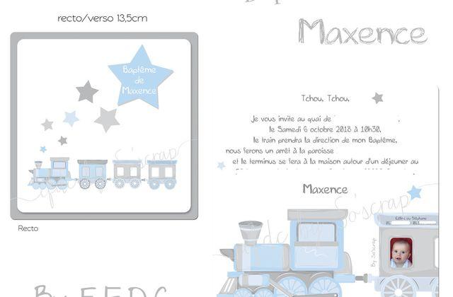 Le faire part de baptême du petit Maxence et ses options (10 commandements, badges) ... thème petit train