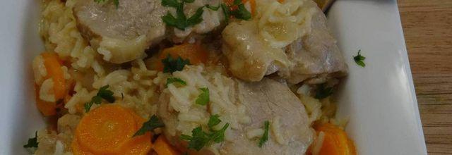 Filet mignon de porc au riz, carottes à la crème, au Cookéo ou pas