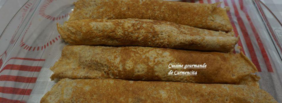 Crêpes au blé complet garnies au saumon frais et champignons de Paris