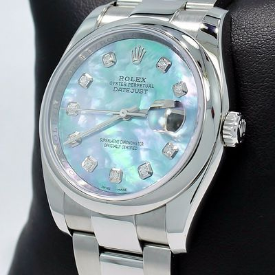 Rolex Datejust 116200 36mm Diamond Blue MOP Dial Oyster Watch PAPERS