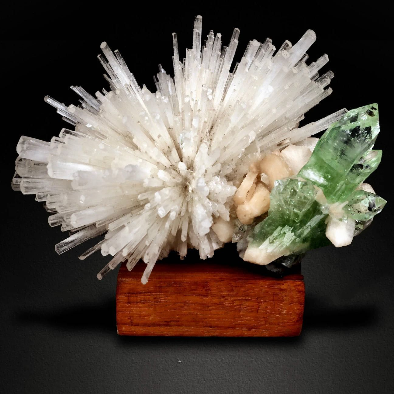 Scolecite with green Apophyllite from India (specimen and photo by : Superbminerals)
