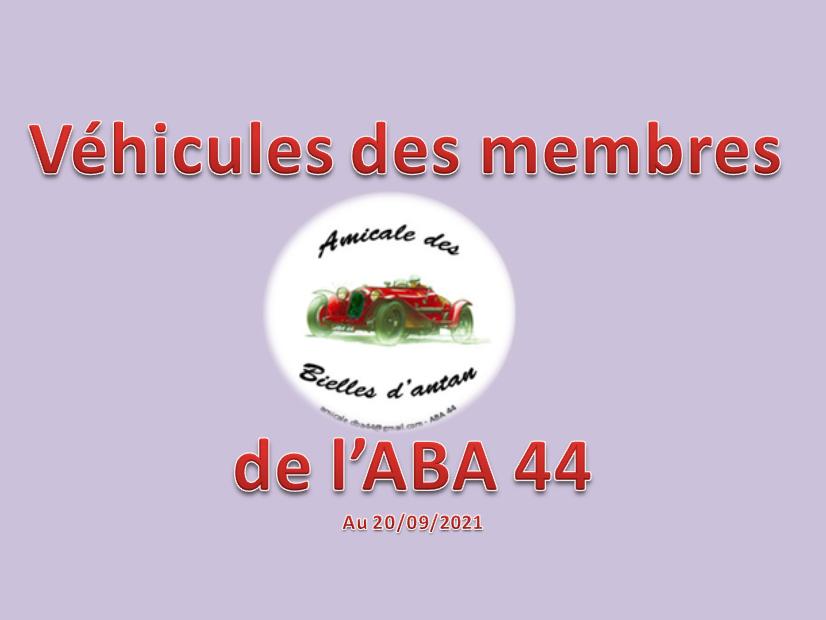 Véhicules des membres de l'ABA44 au 20/09/21