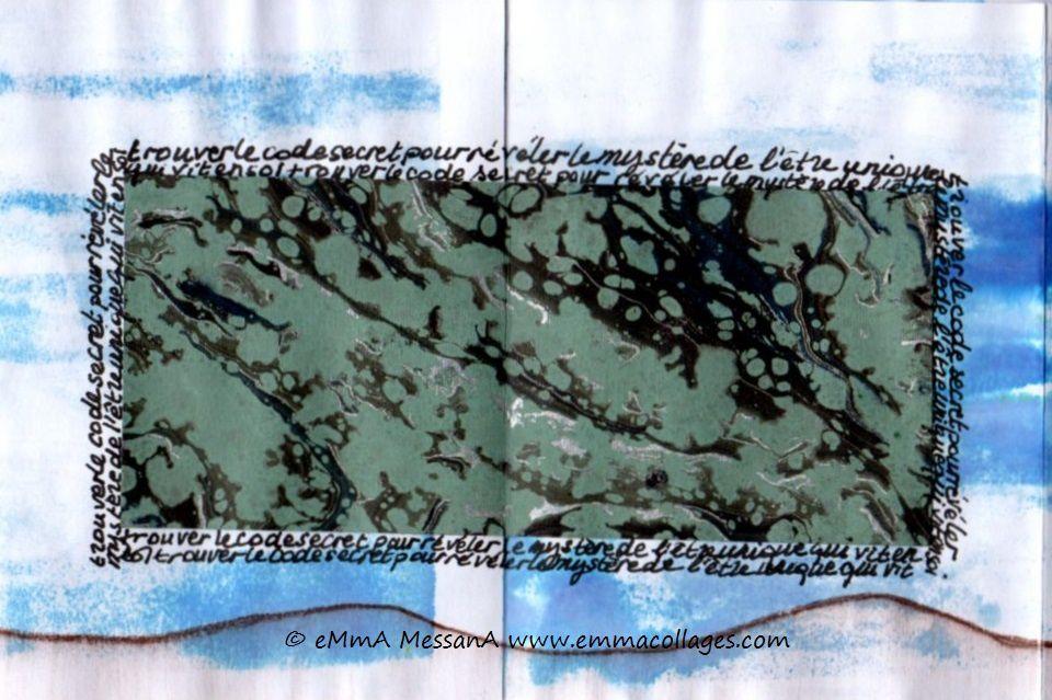 """Les Collages d'eMmA MessanA, leporello N°1 """"Code unique"""", pièce unique © eMmA MessanA"""