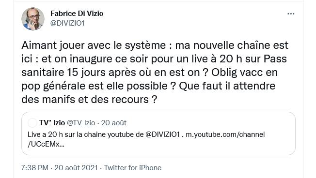 Me Di Vizio : Live du 20 Août 2021 | #PassSanitaire, où en est-on après 15 jours d'application ? - TV' Izio