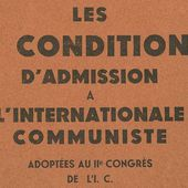 Les 21 conditions d'admission à l'Internationale communiste - Analyse communiste internationale