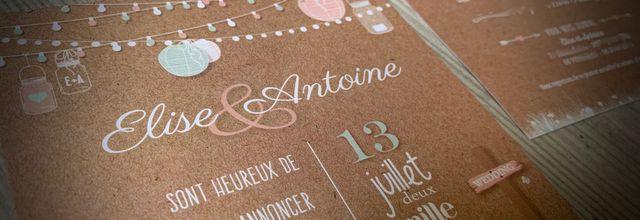 Le faire part de mariage d'Elise et Antoine ... champêtre et guinguette