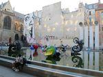 Jef Aérosol, Tinguely et Niki de Saint Phalle à la fontaine Stravinski à Beaubourg