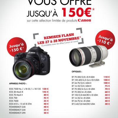 Canon:remises flash le 27 et 28 Novembre 2015