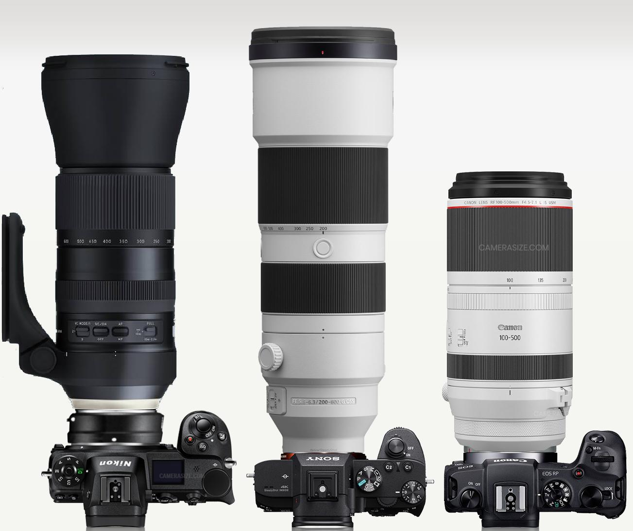 De gauche à droite, Nikon et 150-600 ; Sony et 200-600 ; Canon et 100-500 pour les longs zooms.