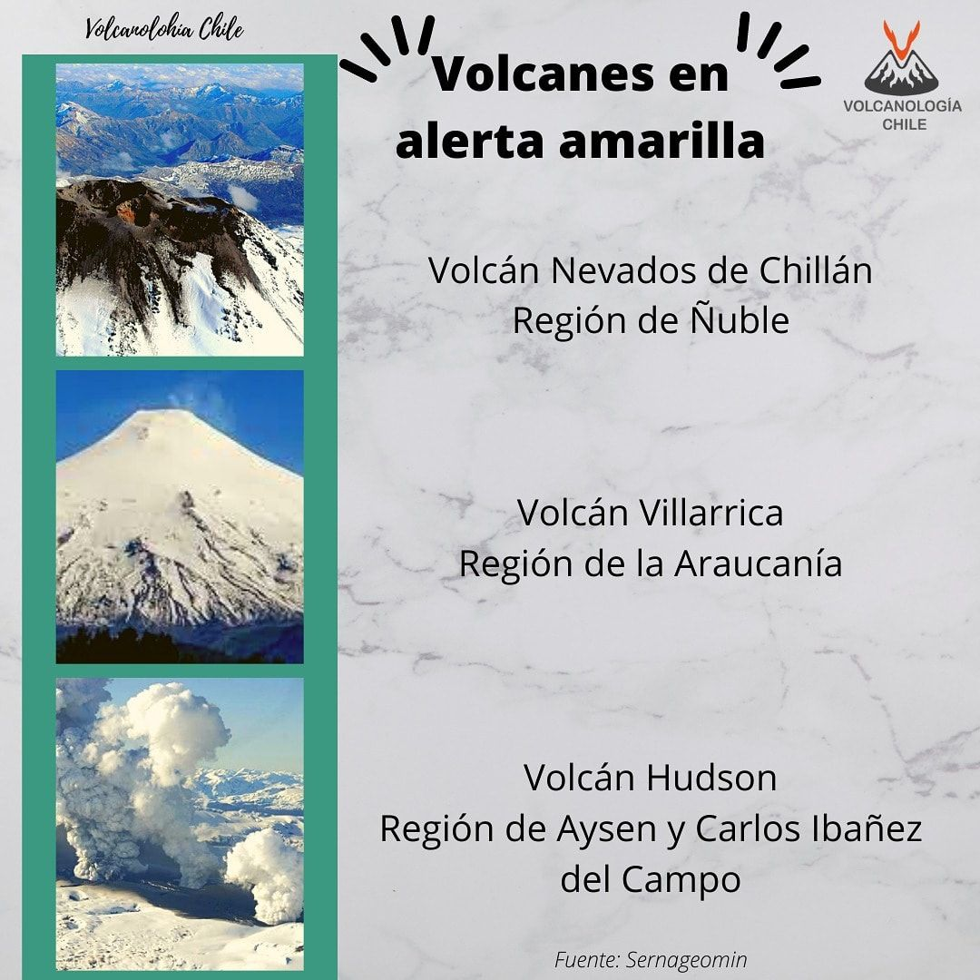 Chile - the 3 volcanoes on alert Amarilla - Doc. Sernageomin & Volcanologia Chile