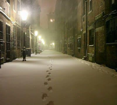 La nuit la rue l'hiver