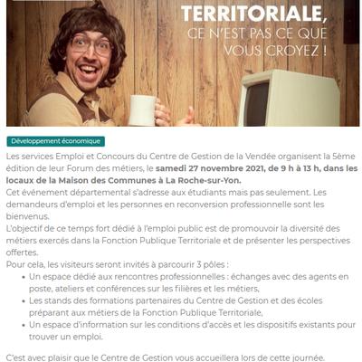 Publié le 18 septembre. Forum des métiers le samedi 27 novembre 2021 de 9 heures à 13 heures dans les locaux de la Maison des Communes à La Roche Sur Yon.