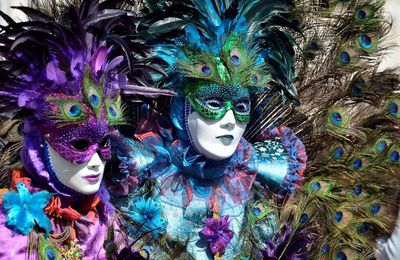 ⚘Masques  plumes paon⚘