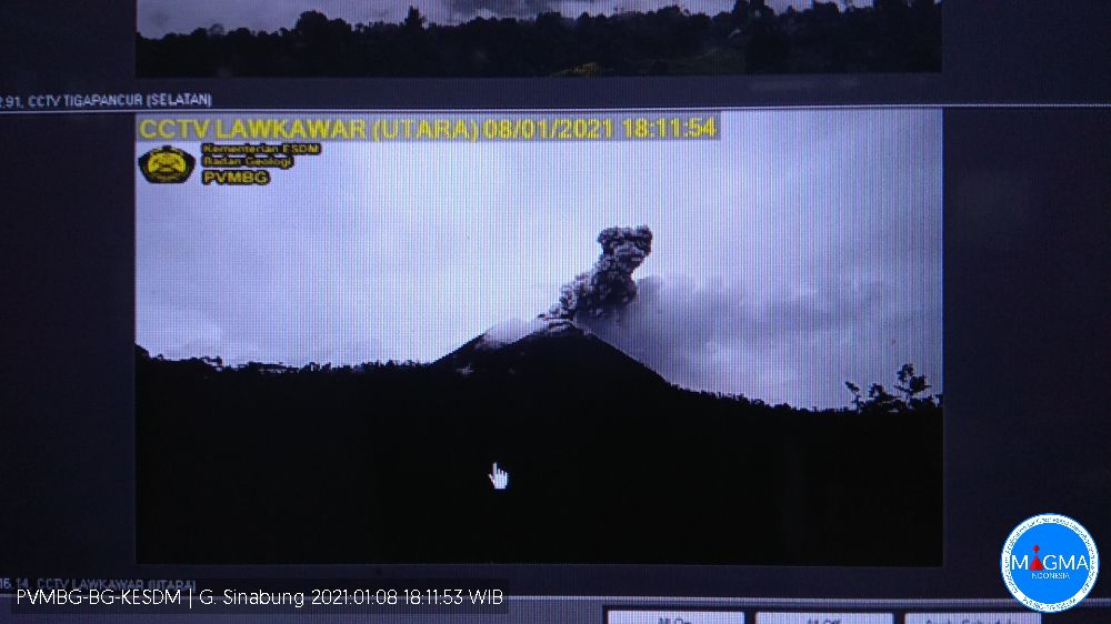 Sinabung - 08.01.2021 / 6:11 p.m. - screenshot by PVMBG Magma Indonesia