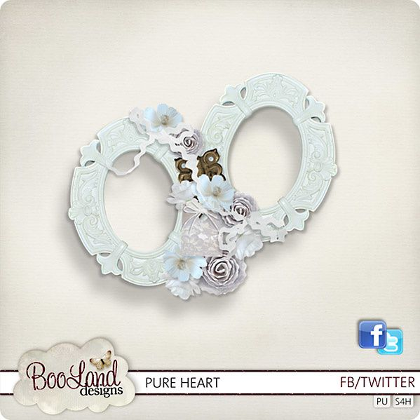 """Kit de scrapbooking """" Pure Heart """" (Clusters and frames)"""
