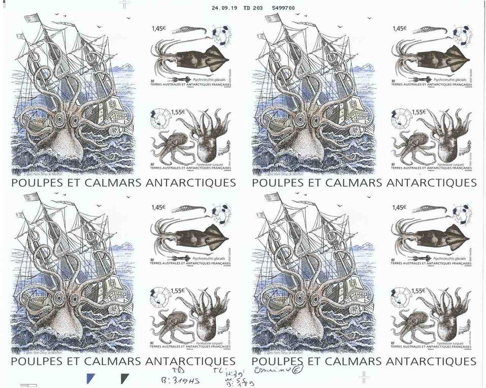 Les sept essais de couleurs dans lesquels les nuances du bateau, du poulpe et de la mer varient sensiblement.