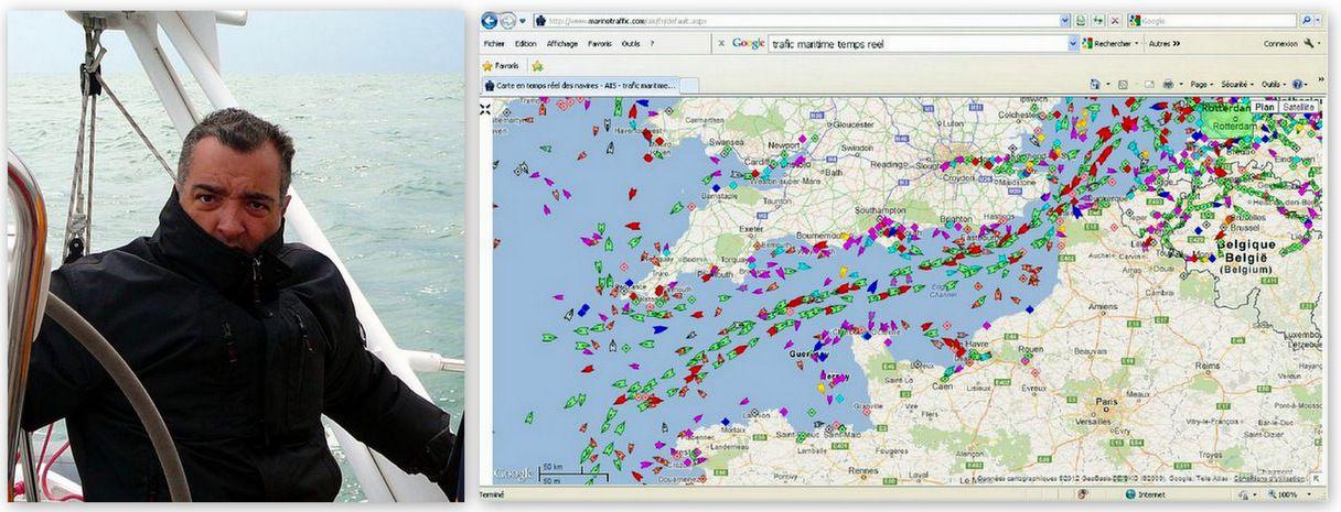 Réveillé par les alarmes lors du passage du Rail des Casquets... La carte du Traffic sur la Manche, un jour comme les autres...