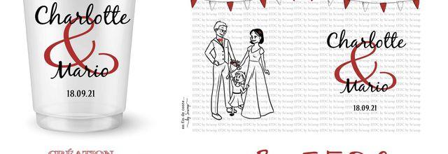 Le design du gobelet réutilisable de Mario et Charlotte assorti au faire part de mariage guinguette