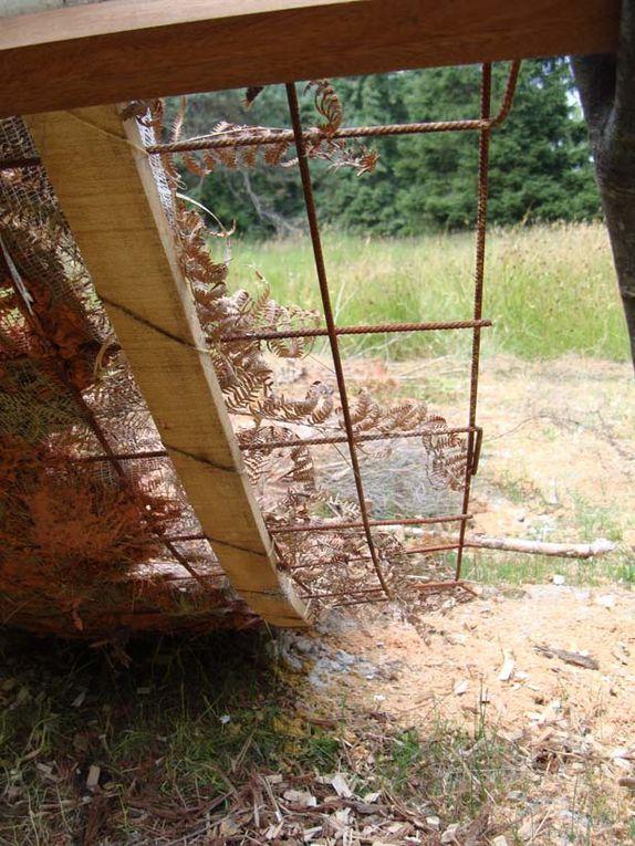 """""""Le Bois d'Armand"""" Cette exposition land art a été réalisée à St Front sur Nizonne, dans les bois d'Armand; mon intervention est cette bande d'argile sur grille, mélange d'argile, de paille de terre arable dans lequel j'ai semé des graines de fleur, tournesol pour le jour, volubilis pour la  nuit ...Voir la page en rapport"""