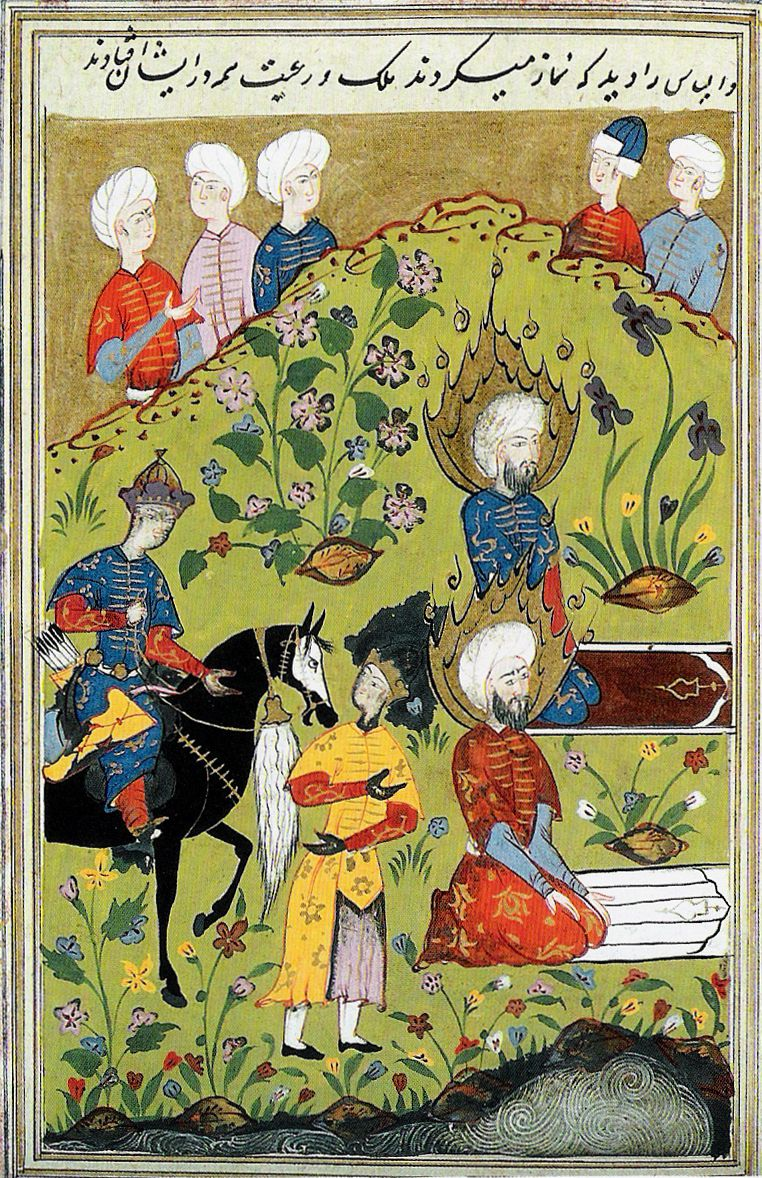 A depiction of Elijah and Al-Khidr praying together from an illuminated manuscript version of Stories of the Prophets.