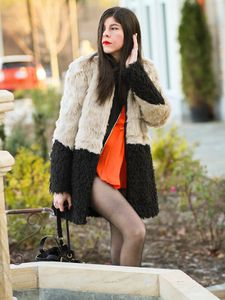 Two-Tone Ombre Faux Fur Coat