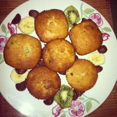 Muffins à la banane, au kiwi et aux chocapic