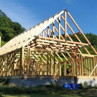Timber frame home in Grant, California. Structural design
