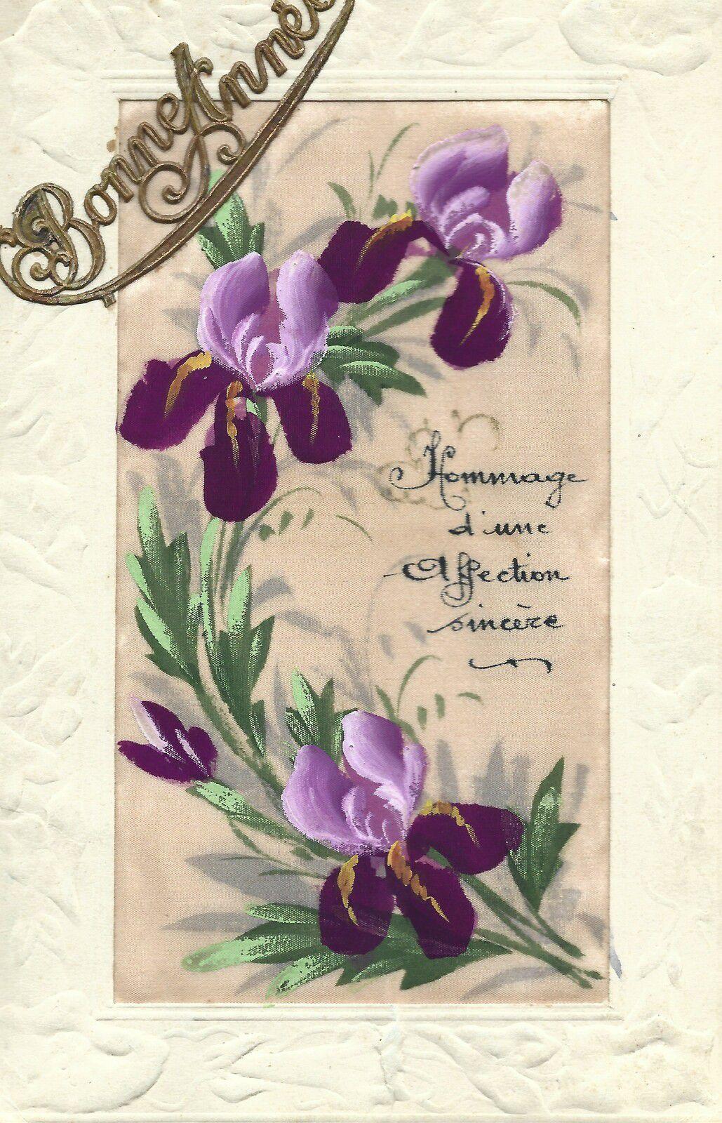 iris 1913 - BONNE ANNEE - PEINTURE SUR SOIE ORANGEE - HOMMAGE D'UNE AFFECTION SINCERE
