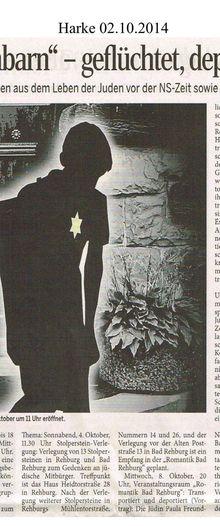 Harke 2.10.14 -- Ausstellung jüdisches Leben in Rehburg-Loccum