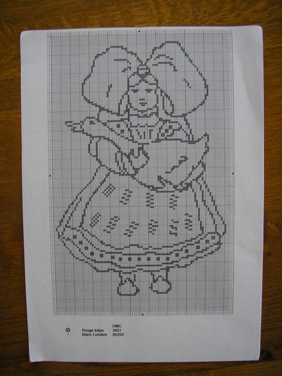Nappe alsacienne brodée d'après des dessins de Francine Will-Zeil