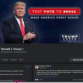 """Suite à Ia coupure mondiale de 7h de tous les services, Facebook a réactivé un compte: """" facebook.com/DonaIdTrump/ """", comme quoi quand c'est demandé gentiment."""