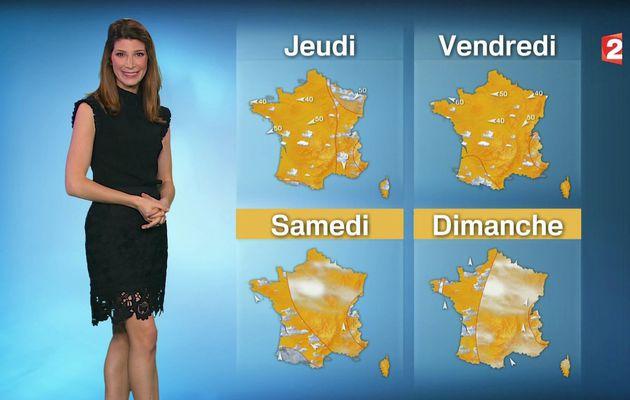 📸1 📺1 CHLOE NABEDIAN @ChloeNabedian @Soniadsm ce midi pour LA METEO @France2tv #vuesalatele