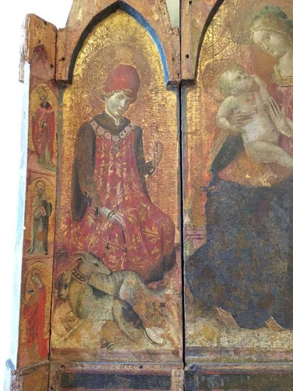 """""""Maestro del trittico di Monreale"""" (Sec XV. seconda metà Madonna col bambino tra i santi e castrense (Chiesa di San Vito, Monreale)"""