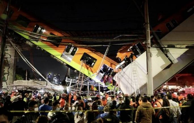Mexico City bridge collapses with train on it, 20 dead