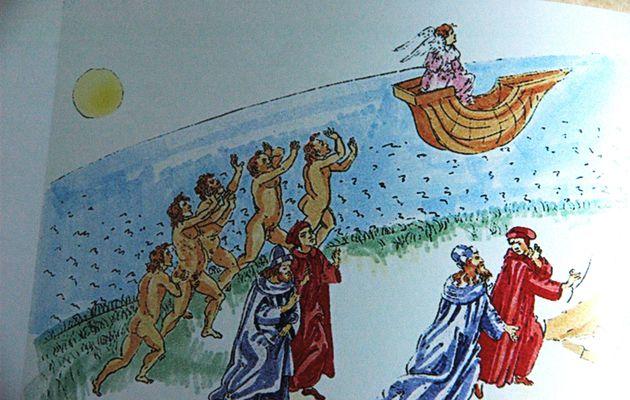 La traversée protégée en vue de l'accès à la montagne de la purification, Dante, le Purgatoire, la Divine Comédie.