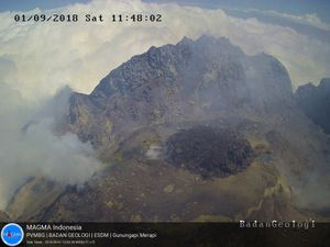 Merapi - Growth of the dome on 01.09.2018 - Doc.PVMBG - one click to enlarge
