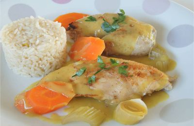 Poule au riz, sauce curry